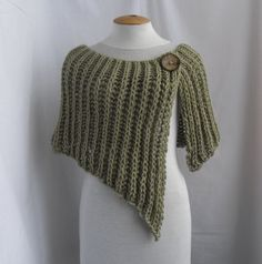 Knitted wrap poncho shawl with one button on etsy. I want to try to recreate this look!