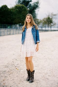Short lace dress, cowgirl boots, and a denim jacket. Would love this for a bridesmaid outfit.