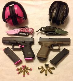 Our Glock 23 Gen4's with custom powder coated bullets and matching accessories. Pink for the wife and O.D. Green for me.