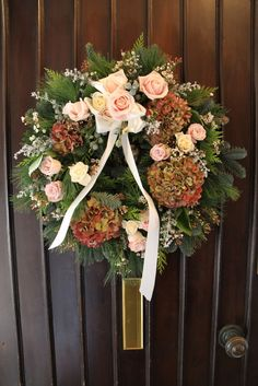 Flower Design Events: Welcome Ring on the front door at The West Tower Wedding Venue