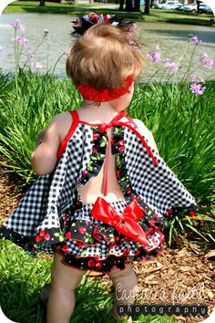 Complete Outfit REVERSIBLE Cherry Gingham Top, Ruffled Bloomer & OTT Bow - 0-3mths, 3-6mths, 6-12mths, 12-18mths, 18-24mths