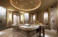 A fusion design at the Six Senses Spa at Hotel Missoni Kuwait Spa Luxe, Luxury Spa, Saunas, Moroccan Hammam, Missoni, Massage Room Design, Senses Spa, Spa Treatment Room, Spa Lighting