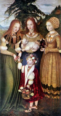 St. Catherine altarpiece by Lucas Cranach the Elder,1506  note the differing necklines and bodices