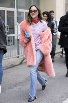 Here's how to add a pink faux fur coat to your outfit.