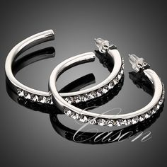 Fashion 18k White Gold Plated Nice Austrian  Crystal Round Design Hoop Earrings