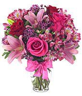 Rose And Lily Celebration Bouquet from Send Flowers! Send a pink roses and lilies bouquet to someone with a bow. Clear glass vase and card message included. Flowers Today, Flowers For You, Flowers Online, Fresh Flowers, Beautiful Flowers, Wax Flowers, Send Flowers, Lilies Flowers, Bouquet Flowers
