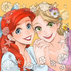 Day 2, Favorite Princess, Hard decission, so..I didn't decide... ARIEL <3 Rapunzel <3
