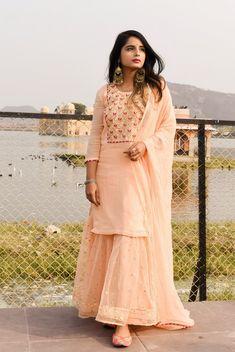 Shop now on www.labelkanupriya.com Shadi Dresses, Indian Gowns Dresses, Indian Fashion Dresses, Pakistani Dresses, Indian Outfits, Ethnic Outfits, Gharara Designs, Kurti Designs Party Wear, Kurta Designs