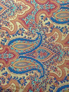 2 Yd X50' Argyle Paisley Western Country Chic Flower Cotton Fabric tan Cowgirl Paisley Fabric, Paisley Pattern, Paisley Print, Indian Patterns, Line Patterns, Textures Patterns, Paisley Wallpaper, Ornaments Design, Paisley Design