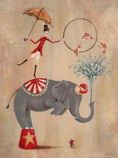 Vintage Circus Elephant Canvas Wall Art