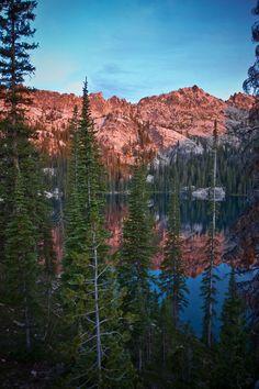 Point Name: Alpenglow above Alpine Lake -115.019453, 44.064558 Alpenglow above Alpine Lake high in the Sawtooth Mountains. Sawtooth Mountains, Rocky Mountains, Alpine Lake, Mountain Range, National Forest, Natural Wonders, Idaho, Wyoming, Scenery