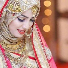 Latest Bridal Hijab Styles Dresses Designs Collection consists of Asian, desi fashion & Arabic fancy hijab dresses, gowns and frocks, maxis, etc Muslimah Wedding Dress, Hijab Style Dress, Muslim Wedding Dresses, Muslim Brides, Bridal Dresses, Muslim Girls, Hijab Outfit, Bridal Hijab Styles, Pakistani Bridal Jewelry