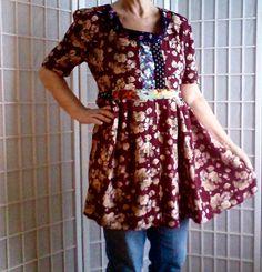 55  UpCycled Mini Dress Lolita Jeans Top Women's Teen by ArtzWear