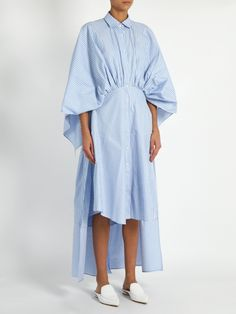 Palmer//harding Open-back gathered-waist striped shirtdress Modest Fashion, Hijab Fashion, Fashion Dresses, Backless Loafers, Mode Simple, Summer Dress, Fashion Details, Fashion Design, Fashion Tips