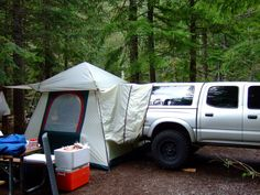 Cheap alternative for camping - Expedition Portal/ use the truck bed for a bed!