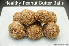 These Healthy Peanut Butter Balls are so yummy and they don't take long to make at all! Eat them for breakfast, with some fresh fruit, or as a snack any time of the day.