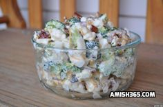 Amish Broccoli Salad - THM / S This is to die for. 1 head broccoli, chopped 1 head cauliflower, chopped 1 cup mayonnaise 1 cup sour cream cup sugar (substitute, for low carb) teaspoon salt pound bacon, fried and crumbled 1 cup shredded Cheddar cheese Amish Broccoli Salad, Broccoli Cauliflower Salad, Brocolli Salad, Broccoli Pasta, Vegtable Salad, Cauliflower Gratin, Raw Broccoli, Creamy Cauliflower, Cauliflower Cheese