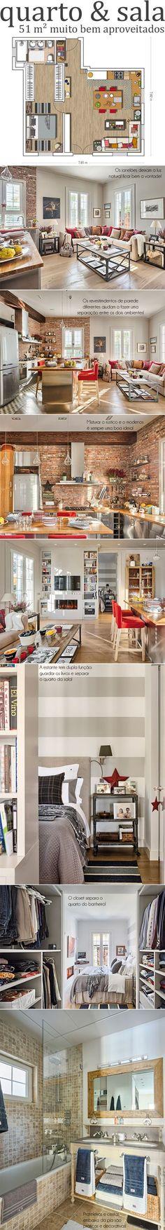 Departamento de una habitación, sala y cocina en 51 m2
