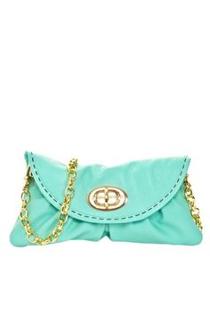 Carla Mancini Mini Detachable Chain Clutch turquoise tiffany mint leather, brass hardware