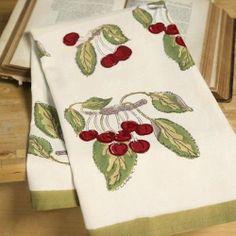 COULEUR NATURE CHERRY TEA DISH KITCHEN TOWEL COTTON HANDPAINTED #CouleurNature
