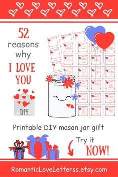 This PRINTABLE DIY kit of 52 Reasons Why I Love You is excellent romantic gift for him (sentimental gift for boyfriend)! 😌💕 Please visit our website to buy it now! Sentimental Gifts For Men, Romantic Gifts For Him, Diy Gifts For Him, Diy Gifts For Friends, Meaningful Gifts, Love Notes For Her, Love Notes For Boyfriend, Creative Gifts For Boyfriend, Boyfriend Gifts