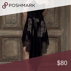 Free People Dark Fairy Midi Dress NWT Dark Fairy Midi Dress from Free People. Size 10. Never worn. Doesn't come with straps. Built in slip in beige color under dress.  Velvet bust, lace bodice. Free People Dresses Midi