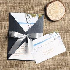summer beach blue and gray pocket wedding invitations EWPI100 as low as $1.69