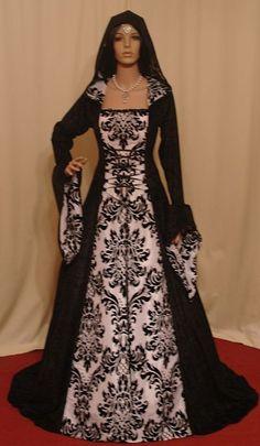 Special Listing - Medieval renaissance hooded gothic dress custom made. $276.00, via Etsy.