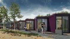 Uk Housing, Low Cost Housing, Social Housing, Micro House, Tiny House, Sedum Roof, Green Roof System, Container Design, Container Cabin