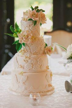 www.whimsicalweddingcakes.com Images by Jennifer Ivory lace wedding cake