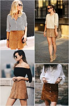 cores neutras e terrosas + textura de veludo/suede + contraste entre parte de cima e de baixo + pernas à mostra  = mulherão confortável Button Up Skirt Outfit, Button Front Skirt, Button Up Skirts, Skirt Outfits, Dress Skirt, Casual Clothes, Casual Outfits, Cute Outfits, Fashion Outfits