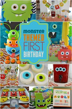 Ideas for baby boy birthday monster party ideas Little Monster Birthday, Monster 1st Birthdays, Monster Birthday Parties, First Birthday Parties, First Birthdays, Birthday Celebration, 1st Birthday Themes, Baby Boy First Birthday, Birthday Fun