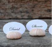 Urchin name holders Beach Weddings, Destination Wedding, Place Cards, Place Card Holders, Destination Weddings, Groom Beach Weddings