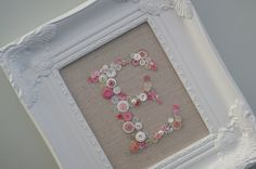 Personalized Monogrammed Button Display-White Ornate Picture Frame-Shabby Chic-Wedding Bridesmades-Baby Shower Nursery Gift. $90.00, via Etsy.