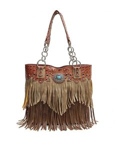 Western Style Concealed Carry Fringe Women Country Concho Studded Purse  Handbag Totes Shoulder Bag Tan - CA184INC49U dad5f4a1eb123