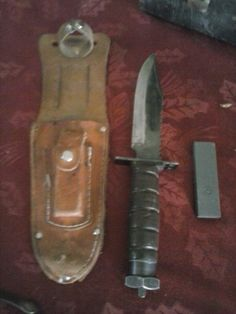 "Jet Pilot Survival Knife ""PIC  #10998 Japan"" with Sheath and Stone"