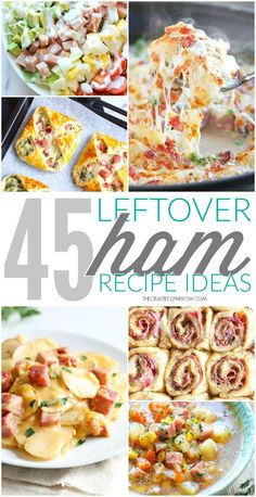Don& let any of that delicious holiday ham go to waste, try one of these tasty 45 Leftover Ham Recipe Ideas for dinner this week! Ham Slices Recipes, Recipes With Cooked Ham, Ham Salad Recipes, Leftover Ham Recipes, Healthy Recipes, Pork Recipes, Easter Leftovers Recipes, Cooked Ham Recipe, Recipes With Ham Dinner