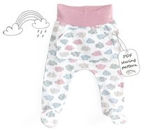 This is an baby footed pants pattern with real color step-by-step instructions. Stitching lines are diagrammed right on to the photos so you never need to guess where to sew. You do not need a serger for this pattern. Pants from this pattern has soft waistband that doesn't cut into babies tumm