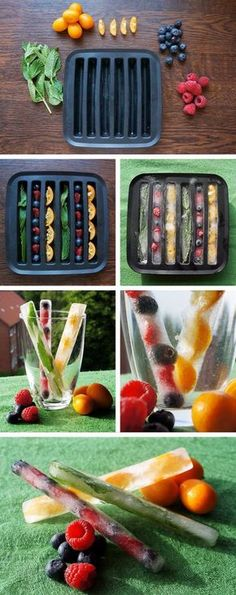 Summer Ice Cubes - DIY with fruits. This would be a smart idea for fruit infused water Healthy Drinks, Healthy Snacks, Healthy Eating, Healthy Recipes, Fruit Recipes, Smoothie Recipes, Healthy Food Tumblr, Diy Snacks, Smoothie Cleanse