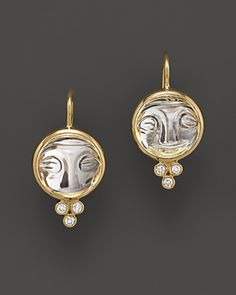 Temple St. Clair 18K Yellow Gold Moonface Earrings with Rock Crystal and Diamond Granulation | Bloomingdale's
