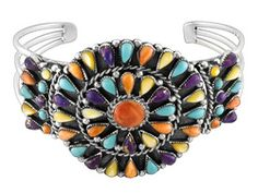 Southwest Style By Jtv, Kingman Multi-color Turquoise, Mother-of-pearl And Shell Sterling Bracelet