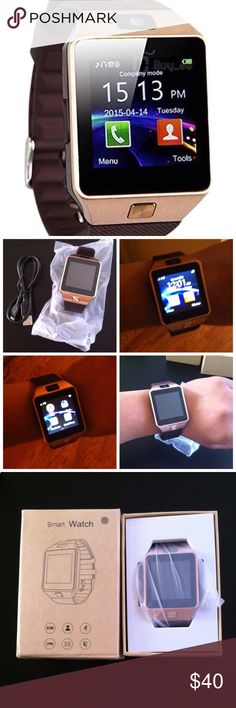 Smart watch/ Bluetooth New. Works via bluetooth connection with ur smartphone and or can also be used with sim card(sim card slot & micro SD card slot built in smartwatch) , recieve n dial calls on smartwatch receive txt msg send txt msg from smart watch, has pedometer sleep monitor and bt camera and bt music anti lost alarm alert and digital and analog clock display option, built in camera , sim card also enables twitter app and fb app and web broswer too. No trades or Pp thanks Accessories…