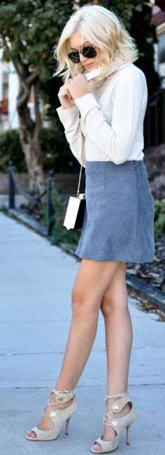 Lovely Luciano Blue Suede Skirt Fall Streetstyle Inspo