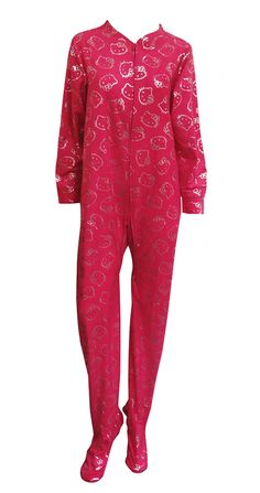 Hello Kitty Faces Black Micro Polar Fleece Footie Onesie Pajama So soft you'll want to wear them all day! These pajama sets for...