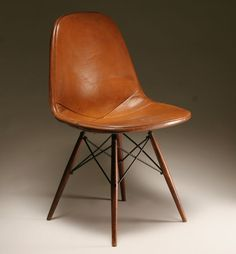 original Eames Herman Miller DKW Chair in leather (circa 1950)