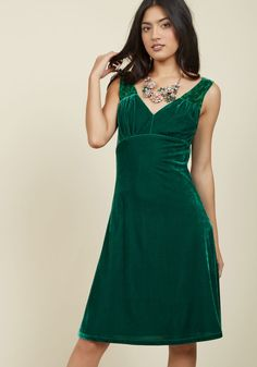 Pin-Up to the Challenge Velvet Dress in Emerald. In this green dress from our ModCloth namesake label, you captivate everyone in the crowd with your vivacious demeanor and retro elegance! #green #modcloth