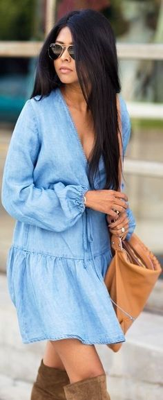 Chambray dress.                                                                                                                                                                                 More