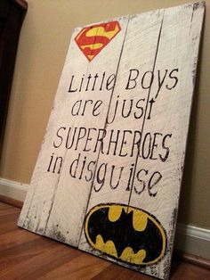Your place to buy and sell all things handmade - Batman Decoration - Ideas of Batman Decoration - Superhero Reclaimed Wood Sign / Little Boys Are Just Superheroes In Disguise / Superman Batman / Weathered Vintage Look / kids room decor Baby Boy Rooms, Baby Boy Nurseries, Superhero Room, Superhero Signs, Superhero Party, Reclaimed Wood Signs, Kids Bedroom, Bedroom Ideas, Nursery Ideas