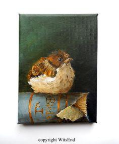 Baby Sparrow Painting original ooak bird and book still life art Watercolor Illustration, Watercolor Paintings, Original Paintings, Watercolors, Baby Sparrow, Guache, Still Life Art, Bird Art, Bird Feathers
