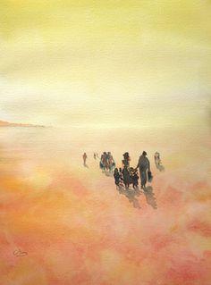 """WATERCOLOR...39 x 29 cm. Saatchi Online Artist OSCAR ALVAREZ; Painting, """"PASEOS POR EL CIELO 1"""" #art"""
